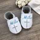Personalised Coloured Cross Christening Shoes