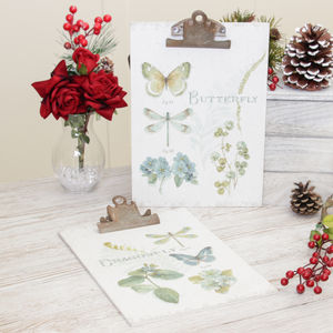 Set Of Two Botanical Butterfly Wall Memo Clip Boards