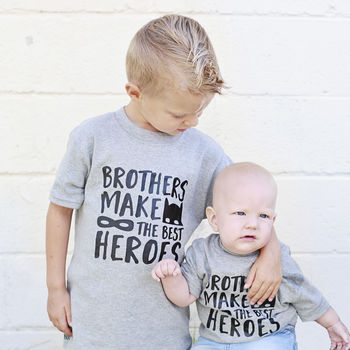 Brothers Make The Best Heroes Sibling Superhero T Shirt