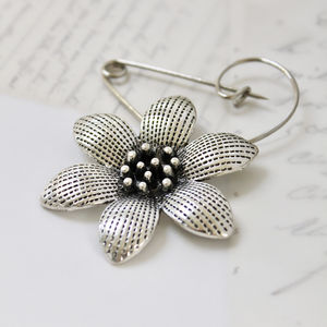 Swirl Pin Brooch With A Stunning Flower - pins & brooches