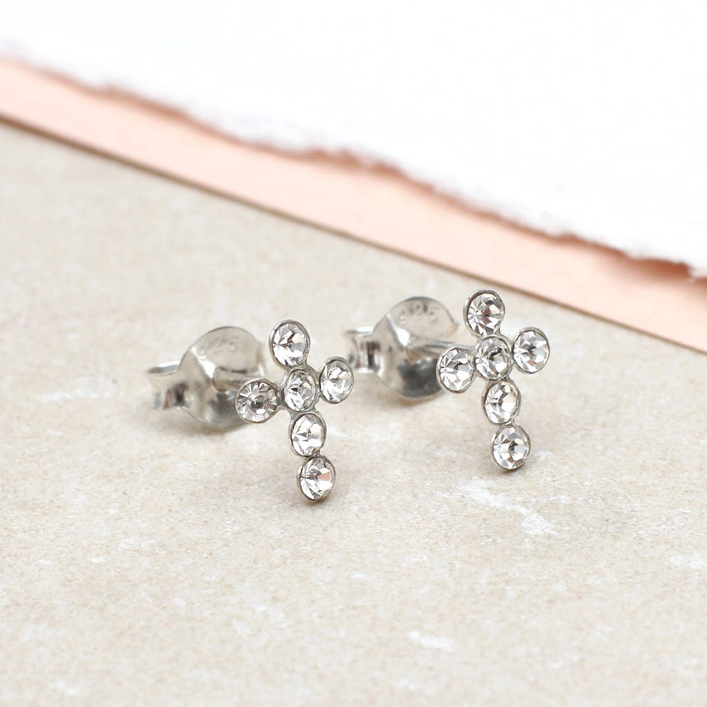 girl\'s tiny sterling silver and crystal cross earrings by ...