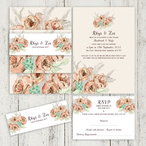 English Rose Wedding Stationery Vintage Tones - invitations