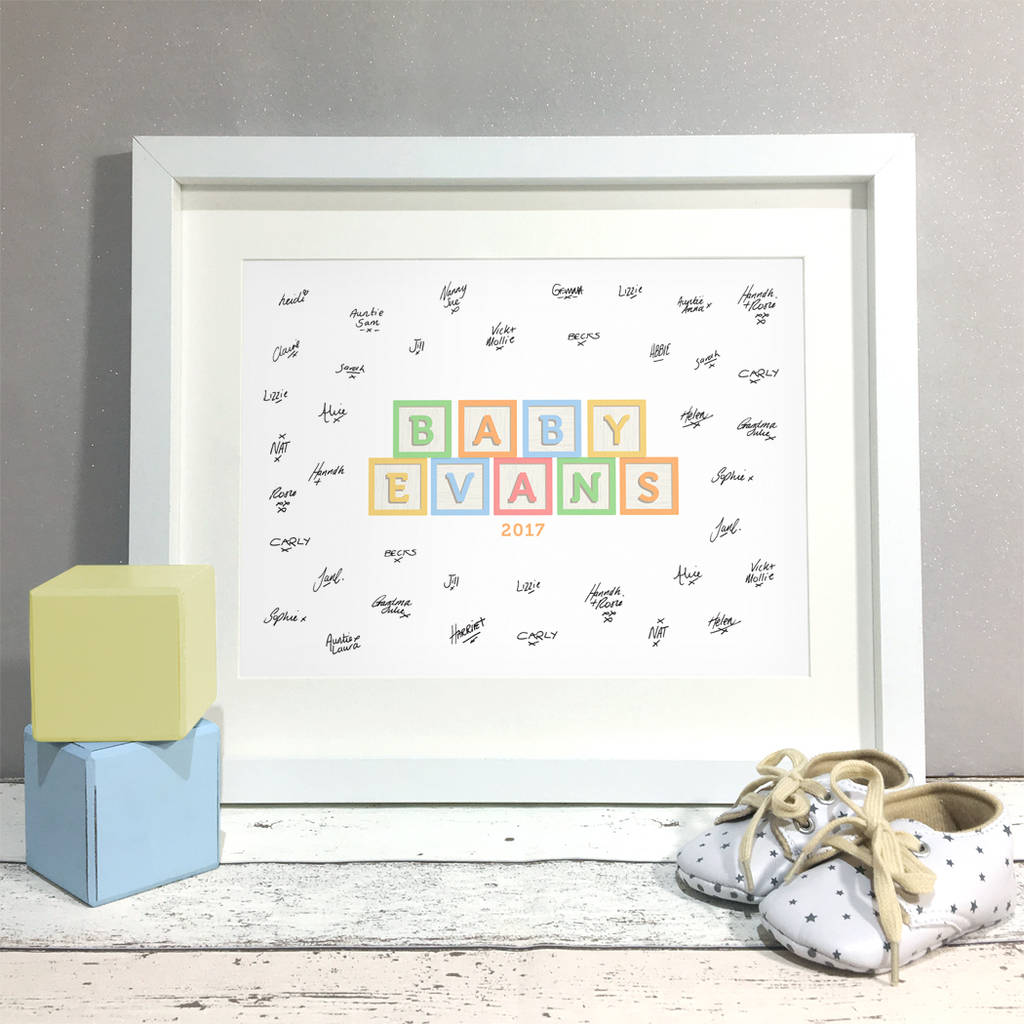 Baby Blocks Personalised Baby Shower Guest Book Print