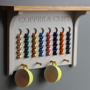Wall Mounted Coffee Pod Holder A Choice Of Colours - shelves