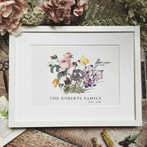 Birth Flower Family Print - personalised