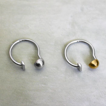 Sterling Silver And 18ct Gold Vermeil Ball And Bar Ring