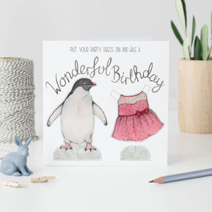 Penguin Paper Doll Birthday Card
