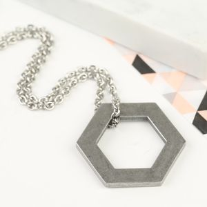 Men's Stainless Steel Hexagonal Necklace - necklaces
