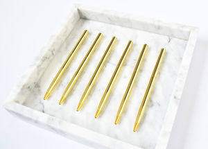 Set Of Five Gold Pens - desk accessories