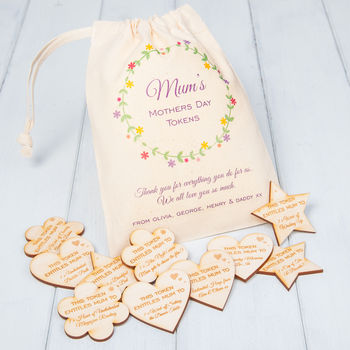Personalised Mothers Day Tokens And Gift Bag