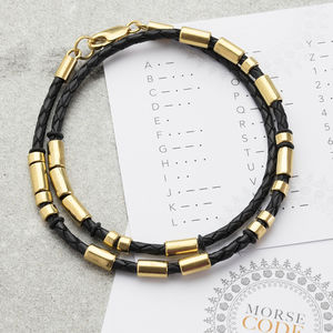 Men's Personalised Gold Plated Morse Code Bracelet - bracelets