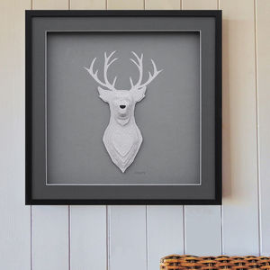 Personalised Family Name 3D Stag Artwork - animals & wildlife