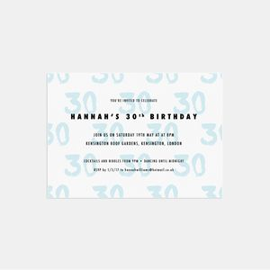20 Brushed Age Birthday Party Invitations