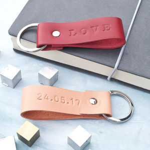 Personalised Leather Keyring For Her