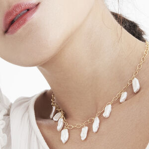 Edwin Gold Chain And Freshwater Pearl Necklace