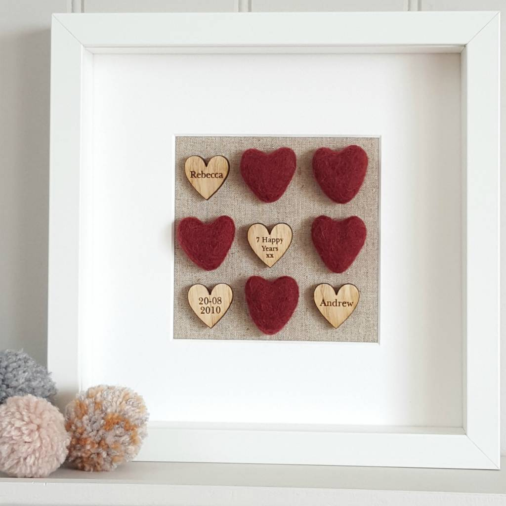 7th Wedding Anniversary.Wool 7th Wedding Anniversary Love Hearts Artwork