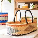 Winneba: Black, Orange And Turquoise Woven Moses Basket