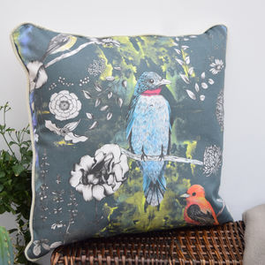 Birds And Flowers City Tale Handmade Cushion - cushions