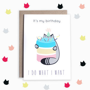 Birthday Cake Cat Card - general birthday cards