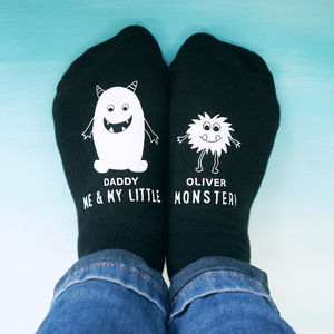 Personalised Little Monster Daddy Socks - token gifts for dad