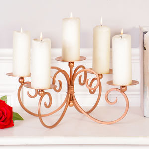 Copper Five Candle Pillar Centrepiece - tableware