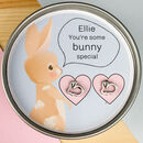 Personalised Bunny Earrings In Gift Tin