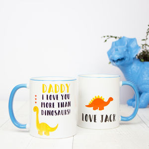 Personalised 'Daddy I Love You More Than Dinosaurs' Mug - dining room