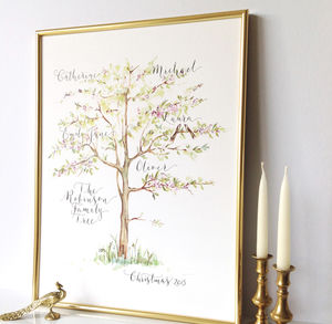 Personalised Calligraphy Family Tree Print - 80th birthday gifts