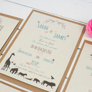 Animal Wedding Invitation Set - save the date cards
