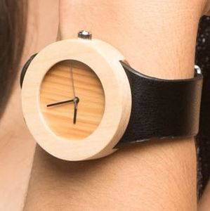 Bamboo And Black Leather Watch - men's accessories