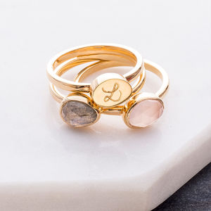 Personalised Trio Gem Stacking Rings - valentines jewellery edit