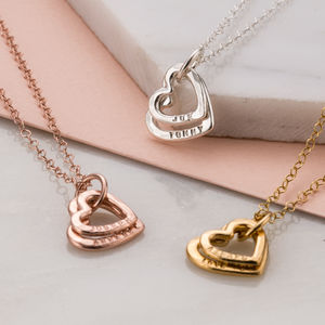 Personalised Baby Names Hearts Necklace - necklaces & pendants