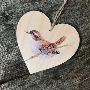 Little Wren Bird Wooden Hanging Heart Decoration