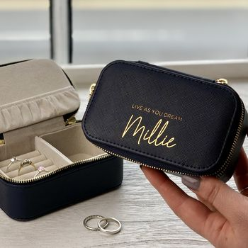 Personalised Navy Travel Jewellery Box