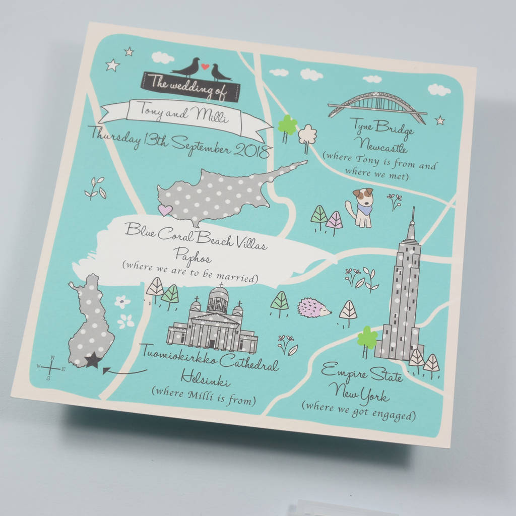 Wedding Invitations With Maps: Bespoke Map Wedding Invitation By Paper And Inc