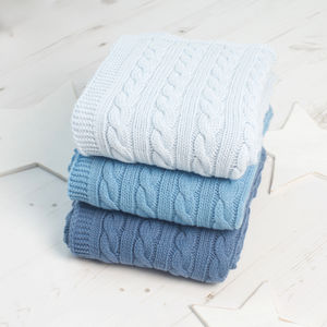 Luxury Baby Boy Cable Blanket - baby's room