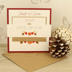Autumn Belly Band Wedding Invitation