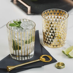 Gold Patterned Drinking Glasses - tableware