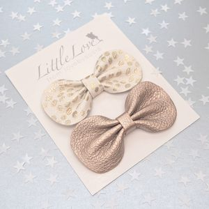 Girls Party Hair Bow Set Gold Spot And Rose Gold
