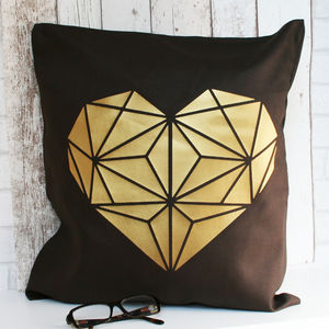 Gold Heart Geometric Design Cushion - cushions