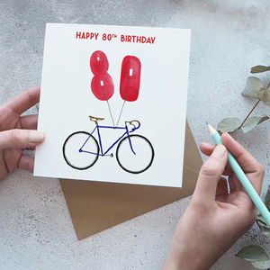 80th Birthday Bike With Balloons Card