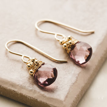Pink Quartz Drop Earrings