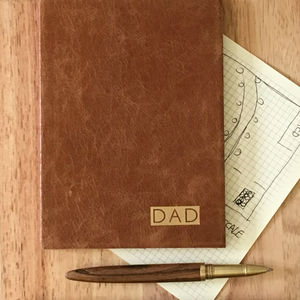 Father's Day Dad Gift, Leather Journal Squared Paper