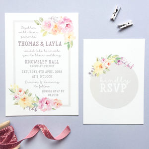 Floral Sweetheart Wedding Invitation And RSVP - invitations