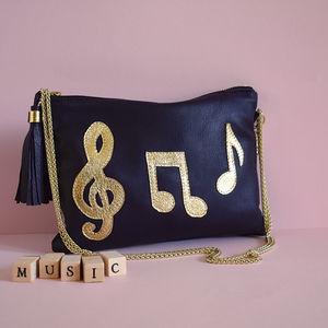Music Notes Leather Bag - clutch bags
