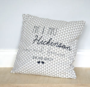 Personalised Geometric Wedding Cushion