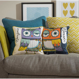 Bonjour Owl Cushion - bedroom