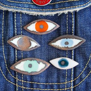 Handmade Ceramic Eye Pin Jewellery Badge