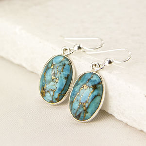 Sterling Silver Turquoise Drop Earrings - earrings