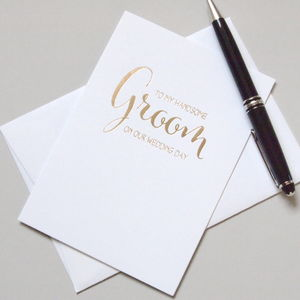 To My Groom On Our Wedding Day - wedding cards & wrap